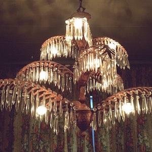 Leuchter Kristall Palmblätter gold