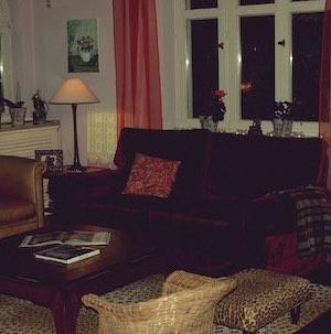 Wohnzimmer Sofa rot Samt Leopard Teppich Opiumtisch