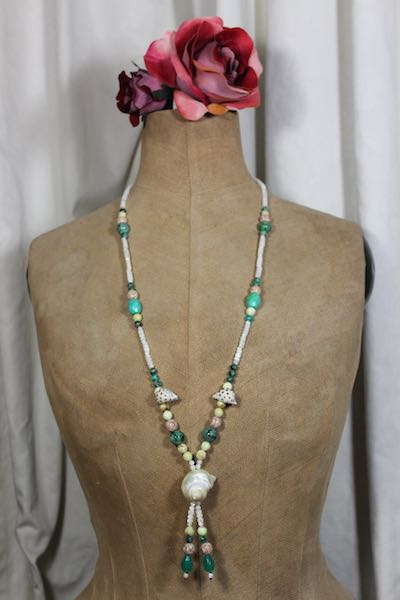 Kette Boho Martinique lang Perlmuttschnecke Achat Türkis recycled