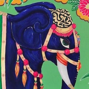 Bild Elefant Indien bunt neon
